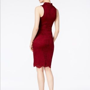 Bar III Wine Lace Mock Neck Sheath Dress